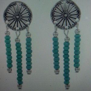 Nwt- Sterling Santa Fe turquoise drop earrings